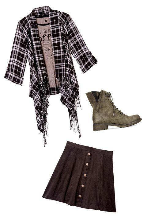 "<p><strong>The Look: </strong>Girly Grunge </p><p>Want to make a flannel + tee combo even more relaxed? Add an oversized top with a shredded hem and flat lace-up boots. Worn with a simple but chic skirt, this outfit combination screams <em>I'm-just-naturally-this-cool</em>.</p><p><em><i>All items available at <a href=""http://www1.macys.com/shop/junior-clothing/shop-all-juniors-apparel?id=60983&edge=hybrid"" target=""_blank"">macys.com</a>.</i><a href=""http://www1.macys.com/shop/product/ntd-juniors-yummy-coffee-burnout-tee?ID=2350185&CategoryID=17043&cm_mmc=crosspromo-_-seventeen-_-mstylelab_shoppable_gallery_090615_093015-_-2350185_ntd_juniors_yummy_coffee_burnout_tee"" target=""_blank""></a><a href=""http://www1.macys.com/shop/product/ntd-juniors-yummy-coffee-burnout-tee?ID=2350185&CategoryID=17043&cm_mmc=crosspromo-_-seventeen-_-mstylelab_shoppable_gallery_090615_093015-_-2350185_ntd_juniors_yummy_coffee_burnout_tee"" target=""_blank""></a></em><br></p>"