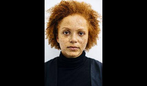 Hairstyle, Skin, Eyebrow, Iris, Jheri curl, Tan, Photography, Portrait photography, Portrait, Afro,