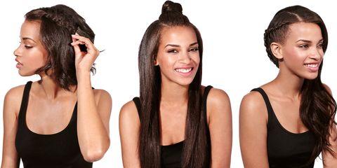 Ear, Hairstyle, Skin, Forehead, Eyebrow, Style, Hair accessory, Black hair, Organ, Beauty,