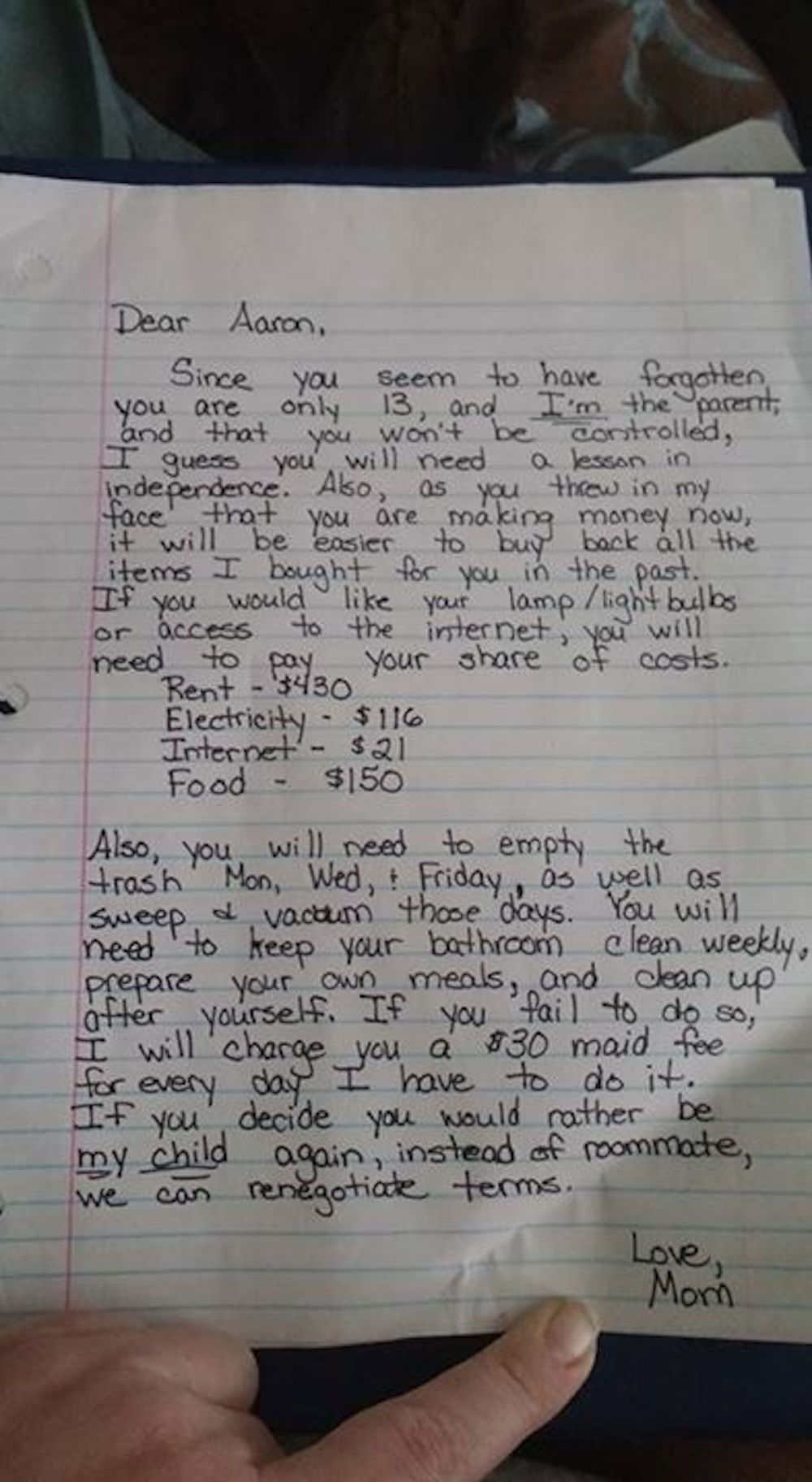 This teen just got epically owned by his moms tough love letter mitanshu Choice Image