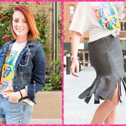 Clothing, Human, Sleeve, Shoulder, Textile, Joint, Pink, Waist, Denim, Style,
