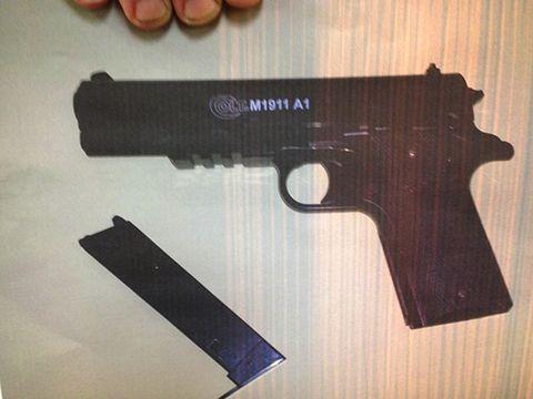 Brown, Gun, Photograph, Firearm, Trigger, Line, Gun accessory, Black, Tan, Gun barrel,