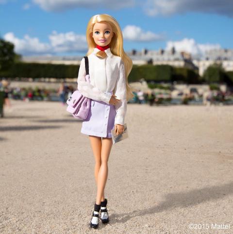 Toy, Doll, Street fashion, Wig, Dress, Lavender, Bangs, Blond, Long hair, Day dress,