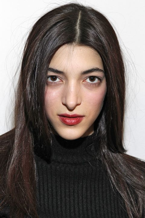 Lip, Cheek, Brown, Hairstyle, Chin, Forehead, Eyebrow, Eyelash, Sweater, Black hair,