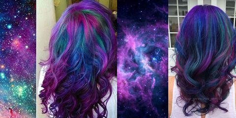 Hairstyle, Violet, Colorfulness, Purple, Magenta, Pink, Lavender, Style, Space, Hair coloring,