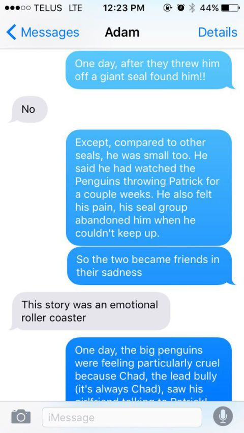 this text message story about a bullied  bisexual seal is
