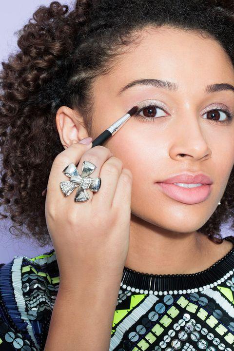 Lip, Hairstyle, Skin, Earrings, Forehead, Eyebrow, Eyelash, Style, Black hair, Jewellery,