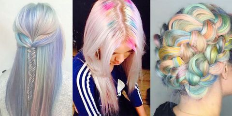 Hairstyle, Style, Purple, Colorfulness, Long hair, Beauty, Hair coloring, Violet, Magenta, Blond,