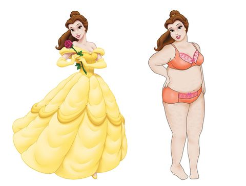 the disney princesses reimagined to represent girls of all shapes