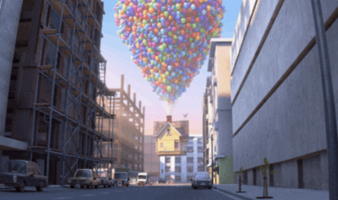 Road, Mode of transport, Daytime, Architecture, Neighbourhood, Infrastructure, Street, Town, Road surface, Balloon,