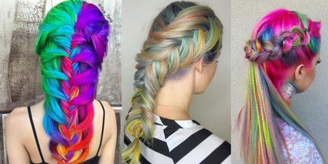 Hairstyle, Forehead, Magenta, Hair accessory, Purple, Pink, Style, Colorfulness, Violet, Hair coloring,