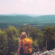 Sky, Mountainous landforms, Bag, Highland, People in nature, Mountain, Hill, Backpacking, Luggage and bags, Wilderness,