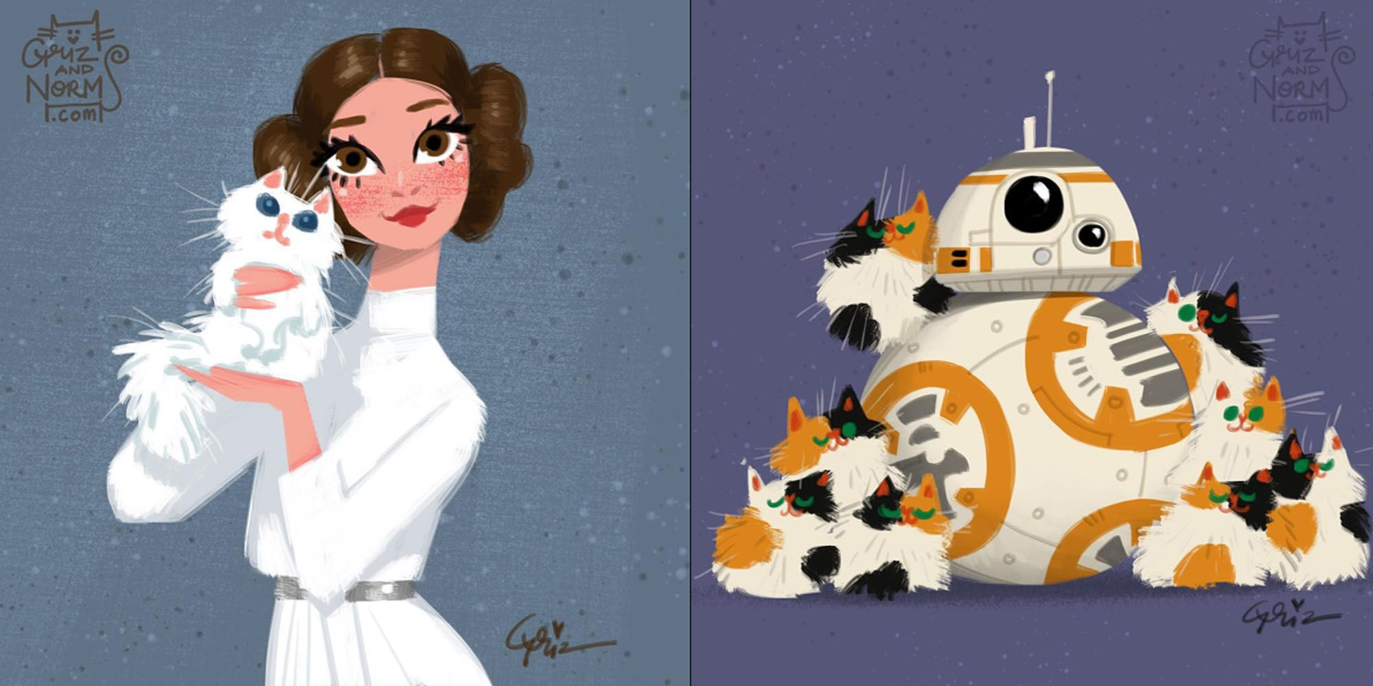 disney illustrators have adorably imagined the cats of star wars characters