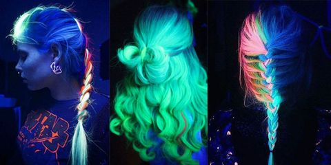 Blue, Hairstyle, Style, Electric blue, Colorfulness, Teal, Hair coloring, Violet, Artificial hair integrations, Earrings,