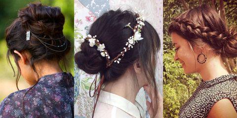 Clothing, Hair, Head, Ear, Hairstyle, Forehead, Hair accessory, Bridal accessory, Petal, Photograph,