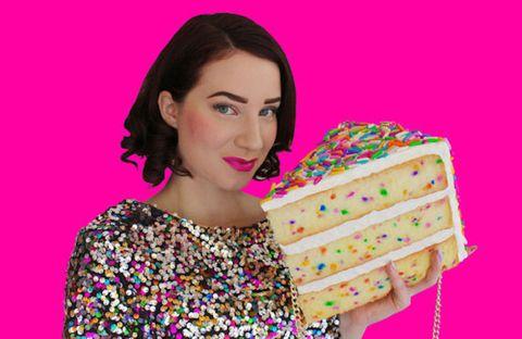 Hairstyle, Dessert, Magenta, Pink, Eyelash, Sweetness, Violet, Confectionery, Purple, Baked goods,