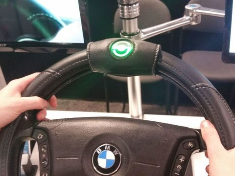 Motor vehicle, Mode of transport, Blue, Steering part, Steering wheel, Bicycle accessory, Azure, Technology, Nail, Windshield,