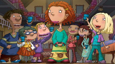 Hair, People, Animation, Interaction, Animated cartoon, Sharing, Cartoon, Illustration, Fiction, Graphics,