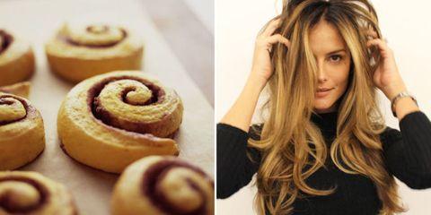 Hairstyle, Food, Finger food, Baked goods, Dessert, Ingredient, Eyelash, Recipe, Cuisine, Long hair,