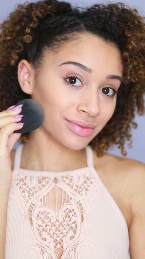 <p>After you're done contouring, apply  liquid foundation all over your face with a makeup sponge. Doing this second will soften the look of your contour and give the illusion that your face is just naturally chiseled.</p>