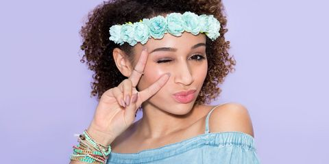 Blue, Hairstyle, Skin, Chin, Eyebrow, Hair accessory, Eyelash, Style, Wrist, Headgear,