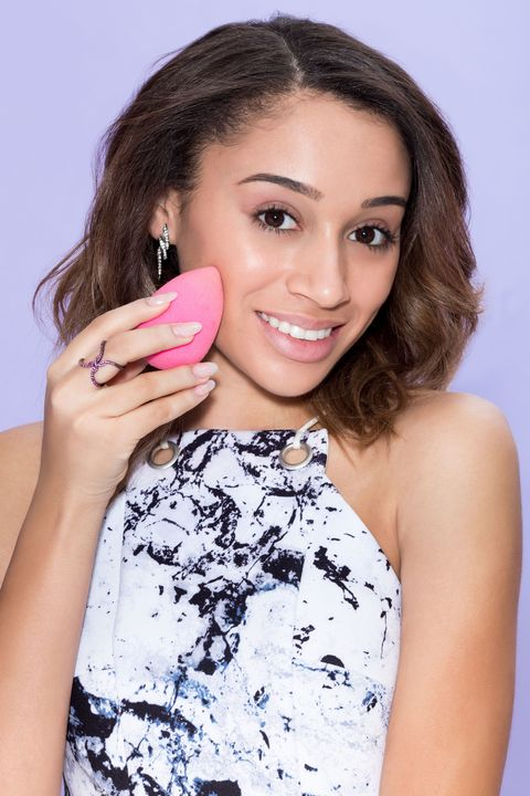 "<p>Begin by <a href=""http://www.seventeen.com/beauty/makeup-skincare/how-to/g2632/the-absolute-best-way-to-apply-foundation/"" target=""_blank"">applying your foundation</a> using a makeup sponge rather than a traditional brush. This will help keep coverage as sheer as possible and, most importantly, prevent your face from getting that dreaded cakey look.</p>"