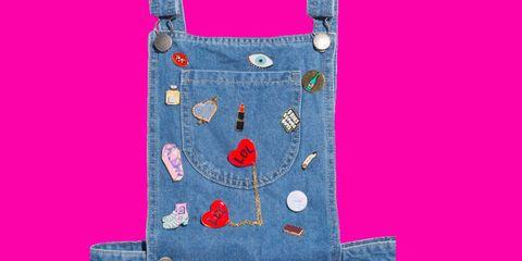 Textile, Pink, Magenta, Denim, Pattern, Electric blue, Pocket, Button, Fashion design, Pattern,