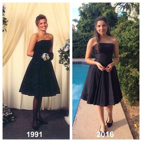 Clothing, Dress, Shoulder, Textile, Photograph, Joint, Standing, Waist, Formal wear, Pattern,