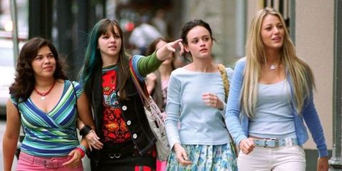 Hair, Head, People, Social group, Community, Denim, Fashion, Bag, Youth, Street fashion,
