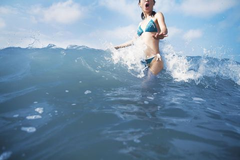 Brassiere, Swimwear, Leisure, Summer, Swimsuit top, Undergarment, People in nature, Waist, Bikini, Abdomen,