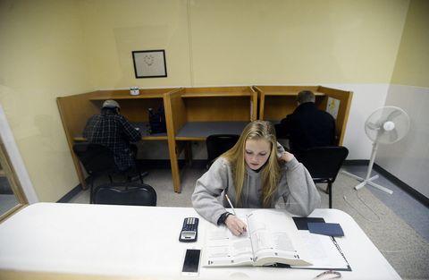 Student taking SAT practice test