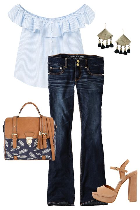 "<p>Uhh, wrong! After the years-long reign of the skinny jean, flared jeans are back in a <i>major </i>way. Pair a lightly faded pair with an off-the-shoulder top and neutral platforms for a look that's both trendy and flirty.<br></p><p><em><br></em></p><p><em>AEO Denim X4 Artist Flare Jean $49.95, <a href=""https://www.ae.com/women-aeo-denim-x4-artist-flare-jean-faded-ways/web/s-prod/1435_9584_537?cm=sUS-cUSD"" target=""_blank"">ae.com</a>; Off-Shoulder T-Shirt, $50, <a href=""http://shop.mango.com/US/p0/women/clothing/shirts/blouses/off-shoulder-t-shirt/?id=73093022_50&n=1&s=destacados_she.off_shoulders_she"" target=""_blank"">mango.com</a>; <em>Take a Bow Black and Gold Tassel Earrings, $12, </em><a href=""https://www.lulus.com/products/take-a-bow-black-and-gold-tassel-earrings/355082.html"" target=""_blank""><em>lulus.com</em></a>; Daonna handbag, $45, <a href=""http://www.callitspring.com/us/en_US/handbags/c/300/DAONNA/p/47761712-2"" target=""_blank"">callitspring.com</a>; Steve Madden Kierra Camel Nubuck Leather Platforms, $99, <a href=""https://www.lulus.com/products/steve-madden-kierra-camel-nubuck-leather-platform-heels/345322.html"" target=""_blank"">lulus.com</a></em></p>"