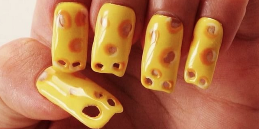 Swiss Cheese Manicure Gross Nail Art