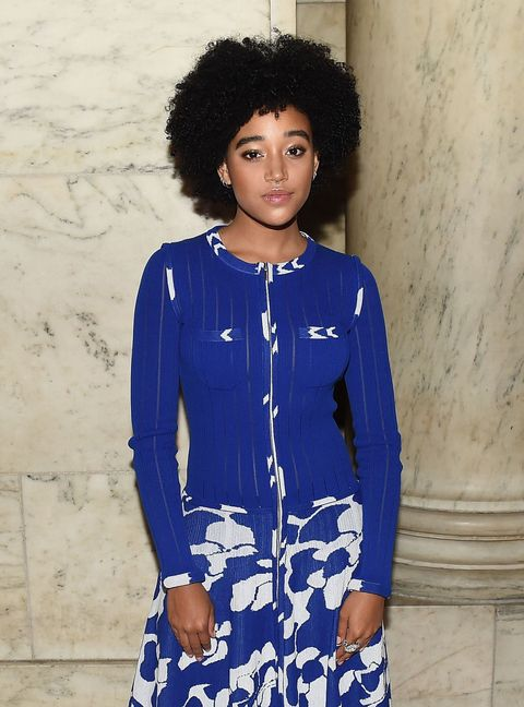 Blue, Hairstyle, Sleeve, Shoulder, Style, Black hair, Electric blue, Jheri curl, Afro, Fashion,