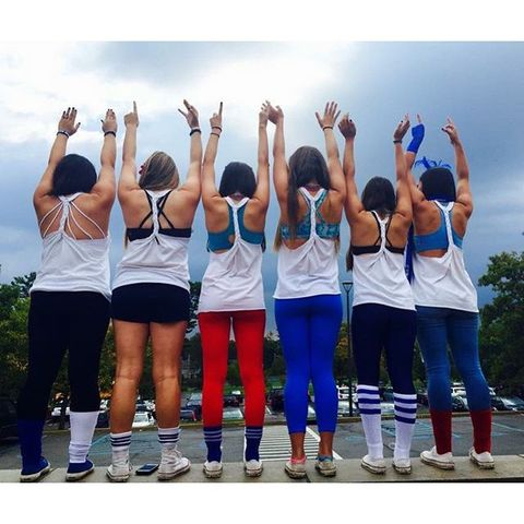 Social group, Textile, Active pants, Team, Thigh, Electric blue, Sneakers, Active tank, sweatpant, Crew,