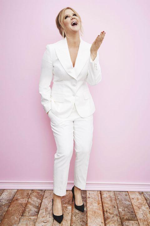 Sleeve, Shoulder, Joint, Collar, White, Pink, Floor, Style, Purple, Blazer,