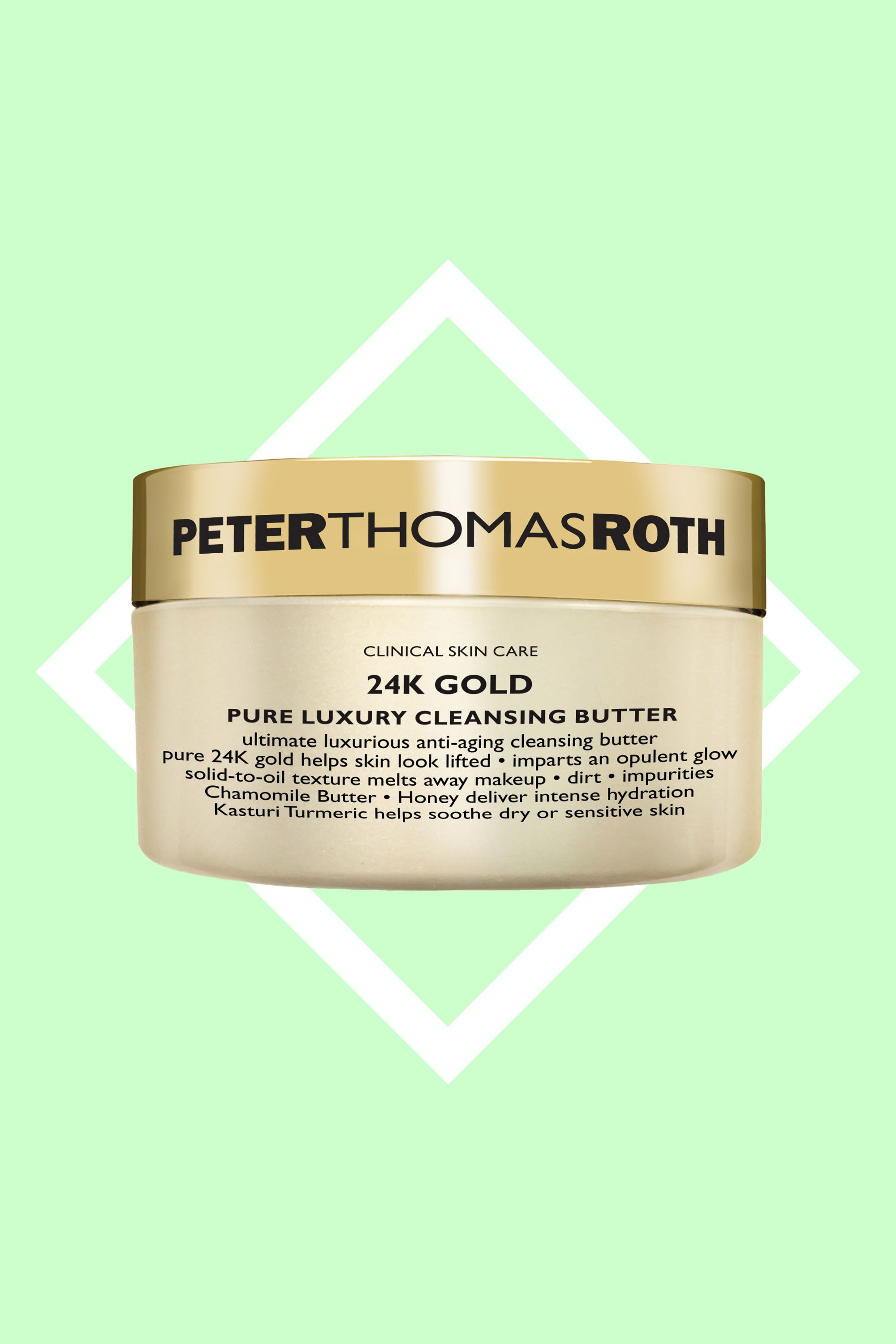"""<p>When your skin seems to feel parched, you definitely don't want to strip it when you're washing. This butter-y cleanser is laced with chamomile butter and honey to wash away makeup and dirt and hydrate at the same time. You may not even <em data-redactor-tag=""""em"""">need </em>to apply a moisturizer afterward.<a href=""""http://www.sephora.com/24k-gold-pure-luxury-cleansing-butter-P402689"""" target=""""_blank""""></a></p><p><a href=""""http://www.sephora.com/24k-gold-pure-luxury-cleansing-butter-P402689"""" target=""""_blank"""">Peter Thomas Roth 24K Gold Pure Luxury Cleansing Balm</a>, $55</p>"""