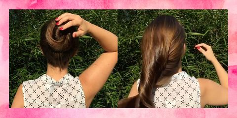 Hairstyle, Style, Back, Long hair, Beauty, Pattern, Neck, Brown hair, Hair coloring, Liver,