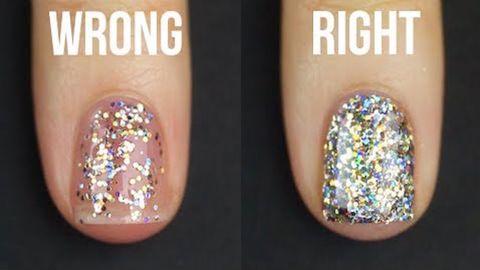 Nail, Nail polish, Glitter, Finger, Nail care, Manicure, Fashion accessory, Yellow, Purple, Cosmetics,