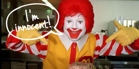 Clown, Costume, Wig, Pleased, Laugh, Costume accessory, Baked goods, Comedy, Fictional character, Mime artist,
