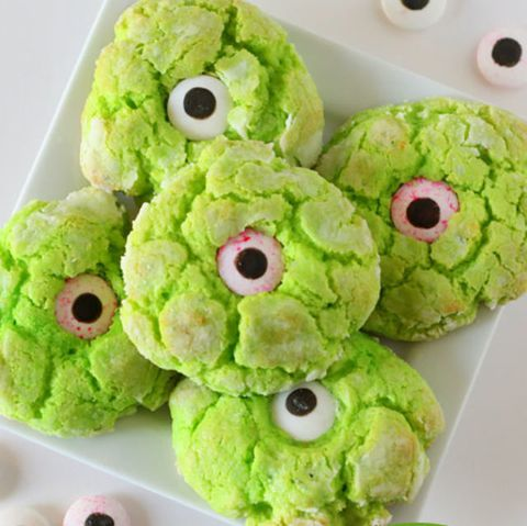 """<p>Make these simple butter cookies just right for Halloween by adding a little green food dye to the mix, then topping off with candy eyeballs.</p><p><strong>Get the recipe at <a href=""""http://lilluna.com/gooey-monster-eye-cookies/"""" target=""""_blank"""">Lil Luna</a>. </strong></p><p><strong><strong>RELATED: <a href=""""http://www.redbookmag.com/food-recipes/advice/g2452/best-halloween-cocktails/"""" target=""""_blank"""">49 Non-Cheesy Halloween Cocktails Your Party Needs</a><span class=""""redactor-invisible-space""""><a href=""""http://www.redbookmag.com/food-recipes/advice/g2452/best-halloween-cocktails/""""></a></span></strong></strong><br></p>"""