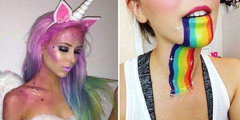 Hair, Face, Purple, Hair coloring, Head, Hairstyle, Chin, Lip, Pink, Cheek,