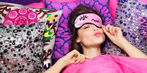 Lip, Pattern, Eyelash, Pink, Purple, Style, Magenta, Headgear, Violet, Hair accessory,