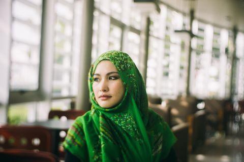 Green, Eye, Wrap, Shawl, Makeover, Portrait photography, Abaya,