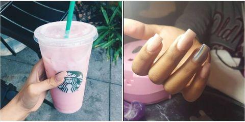 Finger, Hand, Pink, Nail, Drinking straw, Drinkware, Thumb, Purple, Violet, Magenta,