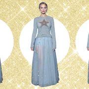 Sleeve, Pattern, Textile, Dress, Formal wear, Style, Waist, Fashion, One-piece garment, Lavender,