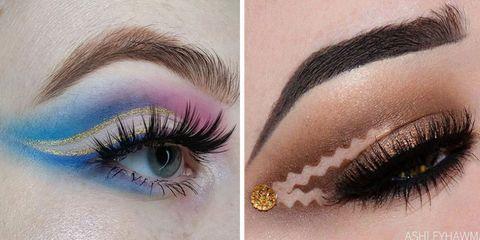 Blue, Brown, Skin, Eyelash, Green, Eyebrow, Violet, Eye shadow, Purple, Style,