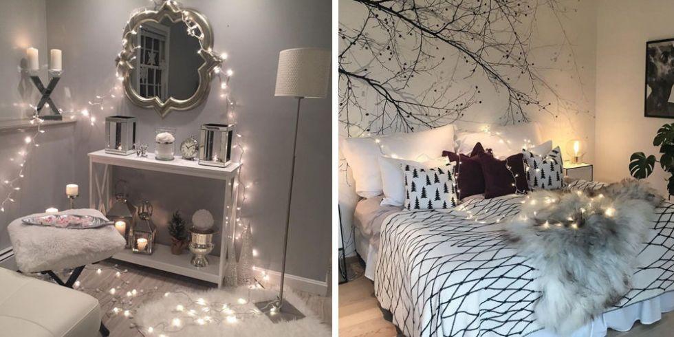 Dorm Decorating Christmas Lights Bedroom