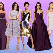 Dress, Fashion model, Clothing, Purple, Shoulder, Gown, Bridal party dress, Fashion, Formal wear, Cocktail dress,