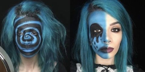 Hairstyle, Style, Eyelash, Teal, Eye shadow, Aqua, Turquoise, Eye liner, Makeover, Goth subculture,